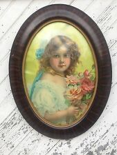 Vtg Oval Art Deco Wood Victorian  Frame Convex Bubble Glass Child  Portrate