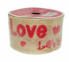 Wired Burlap Fabric Ribbon Happy Valentine Decoration-2.5in x 15ft (Love) New