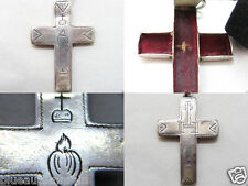 "† HTF ANTIQUE NUN'S VOW PECTORAL STERLING ""TRUE CROSS"" WOOD RELIC CROSS 2 3/8"" †"