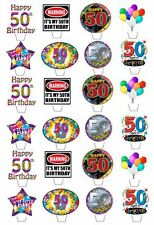 24 HAPPY 50TH BIRTHDAY EDIBLE CUPCAKE/FAIRY CAKE TOPPERS **STAND UPS**