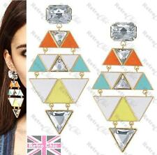 "RRP£15 4""long Enamel Drop Chandelier Earrings GEOMETRIC triangle rhinestone"