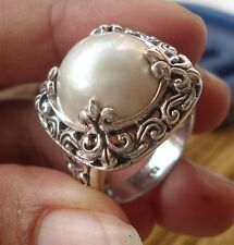 925 Sterling Silver-LH118-Balinese Hand Made Ring White Mabe Pearl Size 8