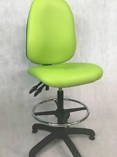 VINYL HIGH BACK OFFICE COMPUTER LAB LIME GREEN DRAUGHTSMAN CHAIR