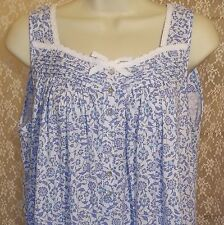 Eileen West M Nightgown Sleeveless Cotton Knit LONG White Blue Aqua Paisley NWT
