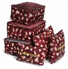 6 Pc Lingerie Cosmetic Travel Luggage Toiletry Pouch Bag Case Organizer(Daisy P)