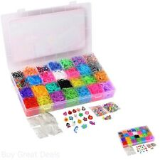 10000 Pc Rainbow Loom Rubber Bands Refill Set Storage Case Organizer Beads Clips