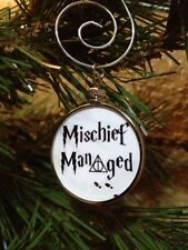 "Harry Potter Saying doublesided Silver 1.25"" Ornament Mischief Managed White 2W"