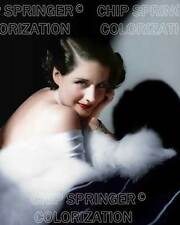 NORMA SHEARER Wearing a White Fur | Beautiful 8x10 COLOR PHOTO by CHIP SPRINGER