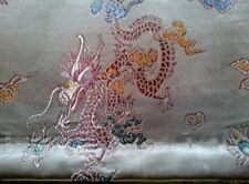 SILK CHINESE EMBROIDERY TEXTILE PANEL WALL TABLE HAND SEWN GOLD THREATS MOTIF