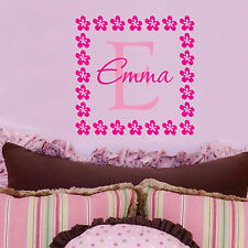 Emma Flowers Personalized Name Childrens Wall Art  Wall Decal Monogram
