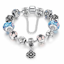 European 925 Silver Plated Bead Charm Bracelets Crystal Women Bangle Jewelry