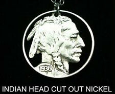 Indian Head Buffalo Bison 5c Five Cent Nickel Cut-Coin Charm Necklace