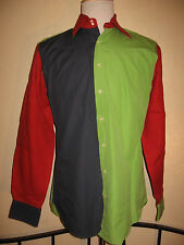 ETRO Milano Long Sleeve Multi Color Shirt Sz 40 Made in Italy Blue Red Green