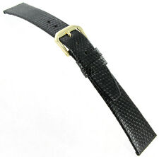 18mm Kreisler Genuine Lizard Black Flat Unstitched Mens Watch Band Strap