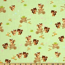 1YD FOREST FRIENDS Chipmunks Squirrels GREEN Camelot Cottons Baby Nursery Fabric