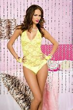 Neon Yellow Soft Lace Halter Neck Lycra Teddy Body Sexy Designer Lingerie P58037