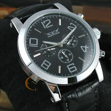 Mens Deluxe Automatic Mechanical Multi Function Calendar Leather Swiss Watch+Box