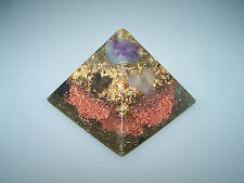 Orgonit Orgon Pyramide 9,4cm Amethyst Goldfluss Amazonit Galaxy-Spirale Pyrit