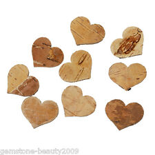Birch Bark Decoration Christmas Heart Natural 30x25mm 20PCs