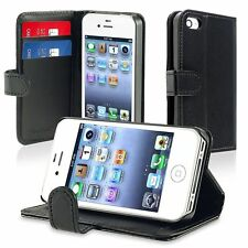 Black Wallet Case Flip Leather Stand Cover w/ Card Holder for Apple iPhone 4 4s