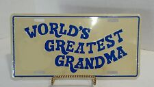 World's Greatest Grandma Funny Novelty Embossed License Plate Car Tag