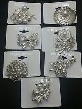 Wholesale Lot 7 Pins  Vintage Style  Brooches Pins Clear  Bouquet MK10