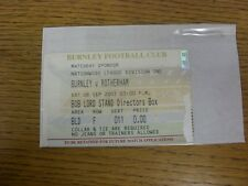 08/09/2001 Ticket: Burnley v Rotherham United [Directors Box Complimentary] . An