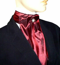 BURGUNDY RED WINE SILKY TAFFETA CRAVAT JABOT VICTORIAN STEAMPUNK REGENCY BUTTON