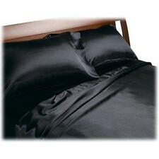 GOOD DEAL ! 4 PIECES NEW SOFT SILK FEEL SATIN SOLID QUEEN SIZE SHEETS SET- BLACK