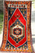 Antique 4'x8'3'' Ca1900-1939s Wool Multi-Colored Nomad Pile Carpet Turkey