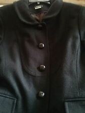 J Crew Womens Black  Basic Jacket Sz 6 Wool Long Sleeve Leather Button Coat