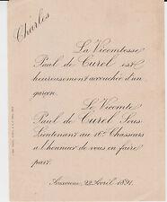 § FAIRE-PART NAISSANCE CHARLES DE CUREL, AUXONNE (Côte-d'Or), 1891 §