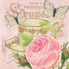 20 Paper Napkins MATINEE Decoration Butterfly Rose DECOUPAGE SHABBY CHIC VINTAGE