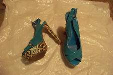 womens deb blue open toe slingback platform heels shoes size 9