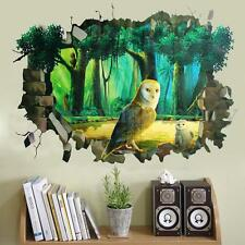 3D Window Owl Forest Mural Removable Wall Stickers Art Vinyl Decal BedRoom Decor