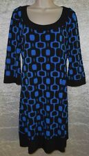 TIANA B. Sz S Dress Multi-Color Blue & Black Geometric Stretch 3/4 Sleeves
