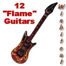 "12 Huge Large 42"" inch Red Hot Flame Theme Inflatable GUITARS Kids Party FAVORS"