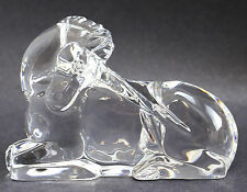 Baccarat Clear Crystal Unicorn Paperweight / Figurine, Makers Mark