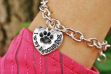 Sterling Silver Plt Charm BRACELET I Love My Rescue Dog Heart Paw Print Paws
