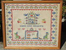Vintage Cross Stitch Needlework HOME AND HEARTH Whimsical Couple Framed Picture
