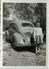 PHOTO ANCIENNE - VINTAGE SNAPSHOT - VOITURE AUTOMOBILE RENAULT 4 CV ENFANT - CAR