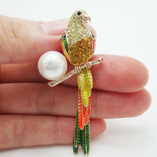 Lovely Parrot Bird-Tail Can Swing Gold Tone Brooch Pin Yellow Crystal