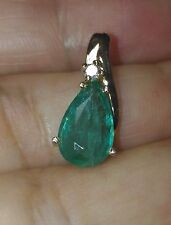 1.75 CT 100% NATURAL UNTREATED EMERALD & DIAMOND 14K YELLOW GOLD PENDANT