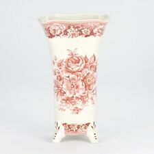 "NEW Antique vintage style Floral Red White decorative Vase jar floral 26cm 10"""