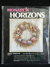 """Monarch Horizons Counted Cross Stitch 1987 Kit Shell Wreath #PCS13 14""""x14"""""""