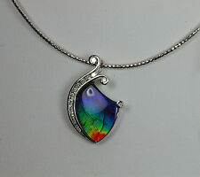 14K WHITE GOLD INTENSE OOAK HAND CRAFTED AMMOLITE DIAMOND SNAIL PENDANT
