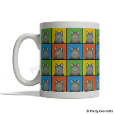 Korat Cat Mug - Cartoon Pop-Art Coffee Tea Cup 11oz Ceramic grey gray