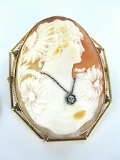 14KT GOLD PIN BROOCH CAMEO DIAMOND FILIGREE FINE CARVED SHELL VICTORIAN ANTIQUE