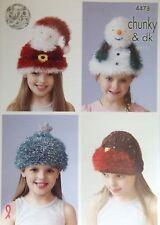 King Cole Dk Chunky Christmas Hats Knitting Pattern santa robin snowman  4478