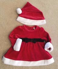 CHEROKEE NEWBORN 2PC VELOUR SANTA DRESS W/HAT ADORABLE REBORN!